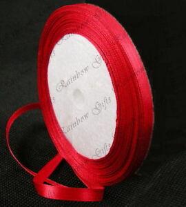 6mm  DOUBLE FACED SATIN RIBBON BUY 1 METRE OR 22 METRES REEL MULTI PURPOSE