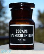 ANTIQUE pharmaceutical COCAINE jar COCAINI HYDROCHLORIDUM complete w/ stopper
