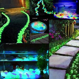 100x Glow in The Dark Stone Pebble Rock For Fish Tank Aquarium Garden Road Blue