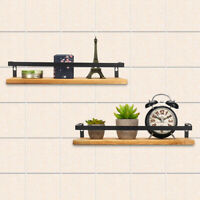 2PC/Set Rustic Wood Floating Shelves Wall Mounted Storage Kitchen Bathroom Shelf