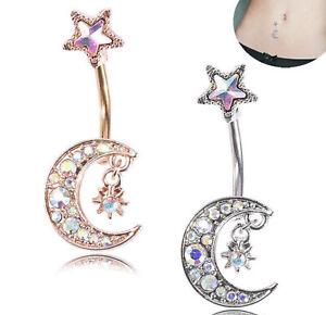 Moon  & Star Design  Belly Bar Piercing Crystal Navel Ring 316L Surgical Steel u