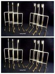 (12) Cup & Saucer Stand Brass SMOOTH Wire Display Tripar 23-2450 LOT of 12