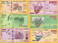 Burundi Set 500, 1000, 2000 Francs p-50, 51, 52 2015 UNC Banknotes
