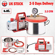 6.8L Stainless Steel Vacuum Chamber+3.5 CFM Single Stage Pump Degassing Silicone