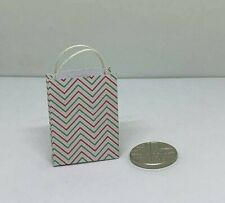 Handmade 12th Scale Dolls House Miniature Accessory Zig Zag Patterned Gift Bag