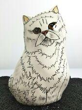 "2001 Persian Cat Ceramic Vase Planter Signed Cats by Nina Lyman 8"" tall"