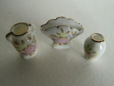 (M6.18) DOLLS HOUSE  SET OF THREE CHINA FLORAL VASES