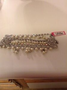 Betsey Johnson Pearls Crystals Statement Wide Bracelet Stunning Nwt
