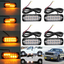 4PCS 12LED Amber Emergency Strobe Flashing Light Recovery Beacon Lamp Car Truck