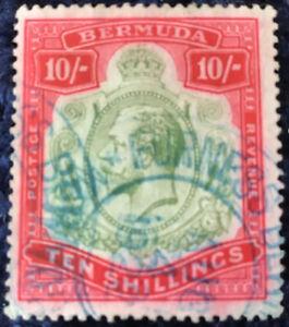 Bermuda 1918/22 10/- Green & Carmine on Pale Bluish Green SG54 C/V £350 in 2016.