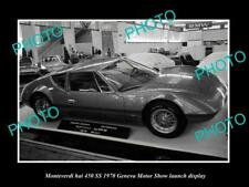 OLD POSTCARD SIZE PHOTO OF MONTEVERDI HAI 450 SS MOTOR SHOW LAUNCH DISPLAY 1970