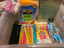 Lot of Assorted Pens Sml Notebooks Pencils School Supplies Box Not Included