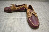 Sebago Horween Spinnaker Leather Boat Shoes, Men's Size 7M, Plum/Brown