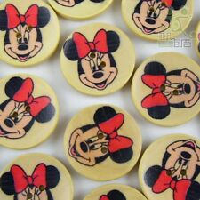 10pcs Cartoon Mickey Wood Round Buttons Lot 30MM Cards/Kids Craft Sewing