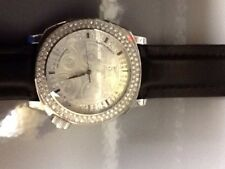 Marc Ecko Black Or White Leather Crystal Encrusted Watch