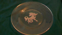 CLEAR GLASS SMALL SERVING PLATE WITH FROSTED UNICORN IN CENTER