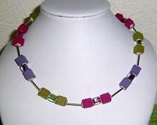 BILDSCHÖNE Designer Würfelkette / lila-pink-grün / MATT + Glänzend
