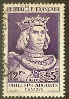 """FRANCE TIMBRE STAMP N°1027 """"ROI PHILIPPE-AUGUSTE 12F+5F"""" OBLITERE TB"""