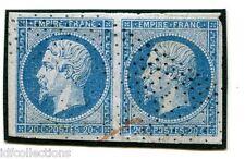 France Napoléon N°14A oblitération roulette de points en paire horizontale
