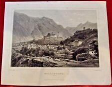 Vue de BELLINZONA dans le TESSIN Gravure originale 1850 vintage