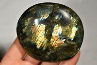 *LARGE* LABRADORITE PALM STONE 8.1cm 245g Healing Crystal Polished