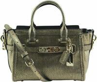 COACH Women's Metallic Pebble Light Swagger 20 Carryall Lt Gold Leather Bag New