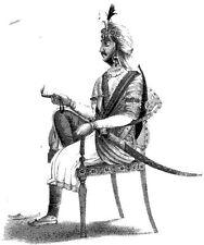Sij Nau Nihal Singh retrato sentada con espada 7x5 pulgadas impresión
