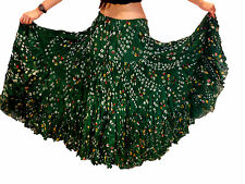 Vert bouteille polka dot 25 yard gypsy jupe coton belly dance tribal costume