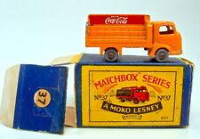 Matchbox RW 37 a coca cola camion 1. version RARE grise Plastique Roues Avec Box