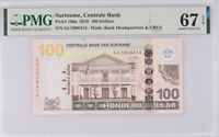 Suriname 100 Dollars 2010 P 166 a Superb Gem UNC PMG 67 EPQ