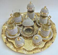 Handmade Zamac Turkish Tea Water Zamzam Serving Set Swarovski Gold Color