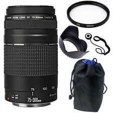 Canon EF 75-300mm f/4.0-5.6 III Lens Bundle for Canon T5 T6 T6i 70D 80D 5D Mark