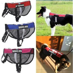 Pet No-pull Reflective Service Dog Adjustable Harness Mesh Vest Coat & 2 Patches