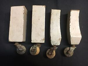 Set of 4 Antique Furniture Steel Casters Wood Wheels Hardware Rollers Wooden Vtg
