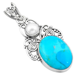 October Sale Silver 12.55cts Blue Arizona Mohave Turquoise Pearl Pendant P20884