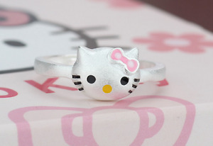 """Silver SP Adorable 3D Pink """"Hello Kitty"""" Cat Kitten Adjustable Ring"""