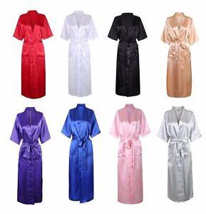 Women Sexy Long Silk Kimono Dressing Gown Bath Robe Babydoll Lingerie Nightdress