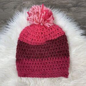 Hand Knit Hat Beanie Womens Pink Pom Pom
