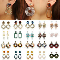 New Women Boho Acrylic Hollow Geometric Big Circle Drop Dangle Earrings