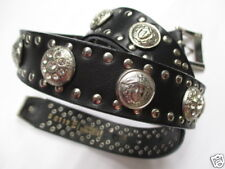 Gianni Versace Vintage Belt 70 / 28 - Black Leather Studded Medusa Belt
