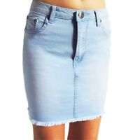 WAKEE LIGHT MINI BLUE DENIM SKIRT WITH FRAYED HEM. SIZE 6-16.