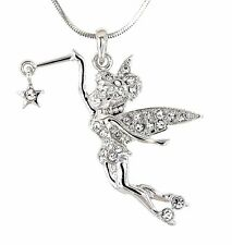 Tinkerbell Fairy Star Austrian Crystal Pendant Silver .925 Chain Necklace New