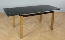 Space Gold and Black Glass Extending Dining Room Table (160-220cm)