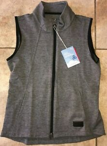 Womens Puma CloudSpun Warm Up Golf Vest Grey Black 595852-01 NWT $70