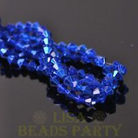 New Arrival  200pcs 4mm Faceted Bicone Loose Spacer Glass Beads Deep Blue