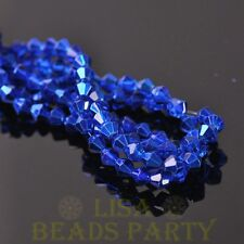 Arrival 200pcs 4mm Faceted Bicone Loose Spacer Glass Beads Deep Blue
