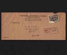 OPC 1947 Winnipeg National Revenue OHMS Perfin to USA Registered