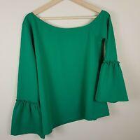 Ann Taylor Off Shoulder Bell Sleeve Blouse Top Shirt Green Women's Size  M