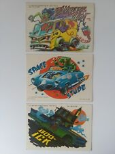 Lot Of 3 1980 Topps Weird Wheels Stickers Vampire Van Space Stude Boo-ick *