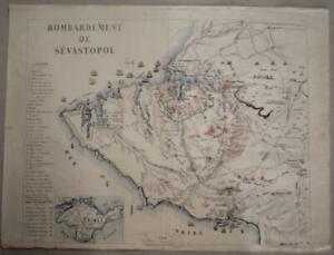 SEVASTOPOL CRIMEAN PENINSULA RUSSIA 1855 PETIT PIERRE ANTIQUE LITHOGRAPHIC MAP